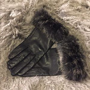 Fur leather gloves